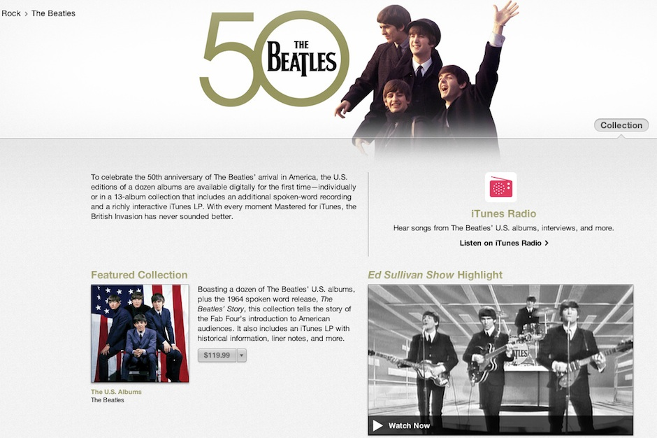 Beatles, Apple, iTunes, 50