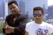 "House music godfathers Farley ""Jackmaster Funk"" Keith and Chip E. taking in the air of sweet home Chicago in 1986."