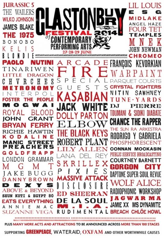 Glastonbury 2014 lineup poster