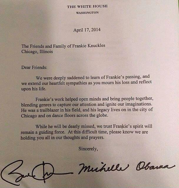 Frankie Knuckles, Obama, letter