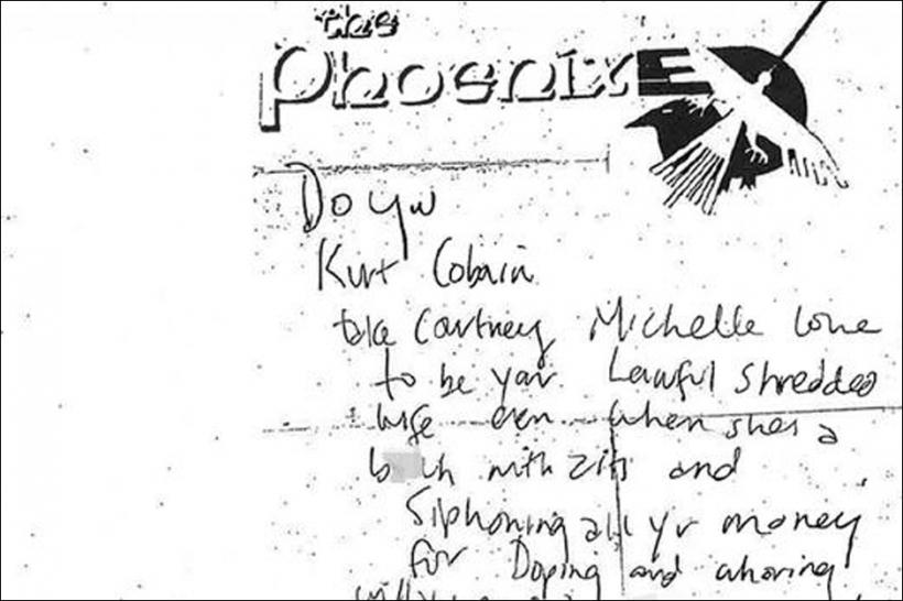 Kurt Cobain, note, death, Courtney Love, once a week, wallet, full