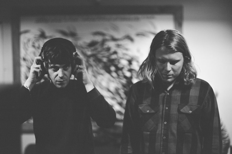 Tim Presley and Ty Segall in the studio.