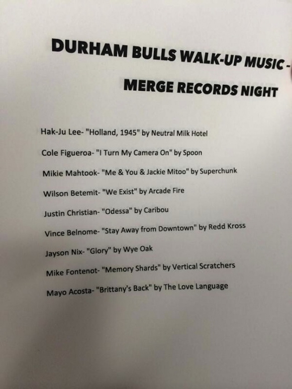 Merge Records Night, Durham Bulls, walk-up music