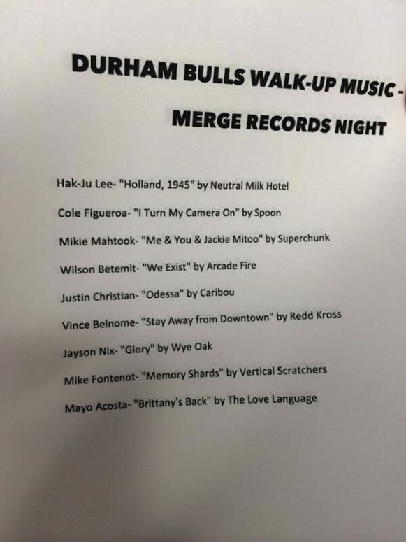 Merge Records Night, Durham Bulls, walk-up music