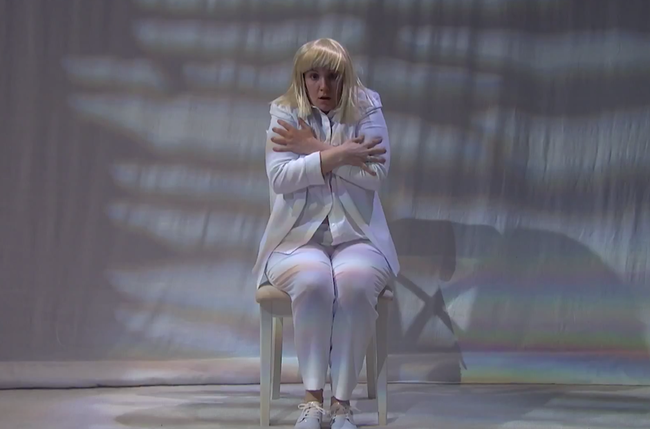 Watch sia perform chandelier on seth meyers with a dancing lena watch sia perform chandelier on seth meyers with a dancing lena dunham spin aloadofball Images