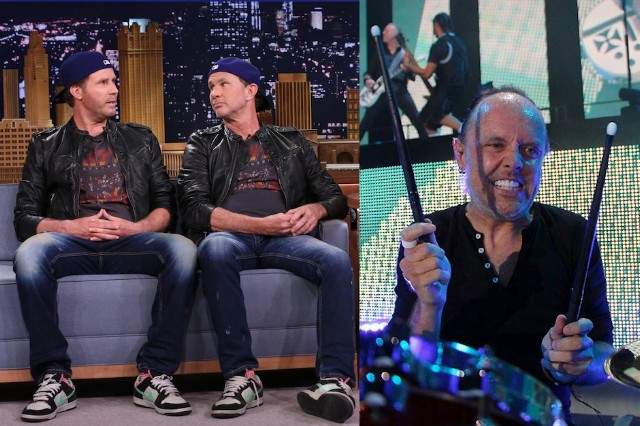 Lars Ulrich, Will Ferrell, Chad Smith, drum-off, Metallica, Red Hot Chili Peppers, battle, challenge, accepted, bring it on