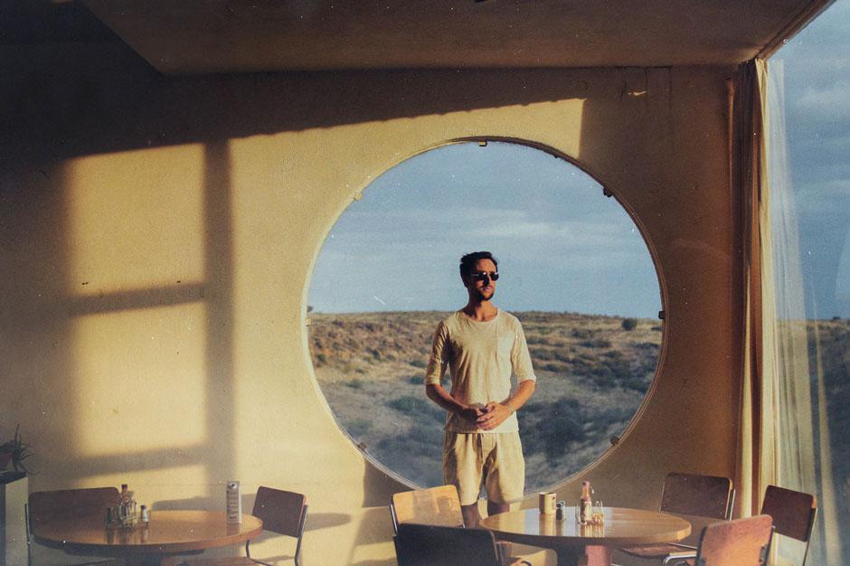 Tom Krell of How to Dress Well in Arcosanti, Arizona.
