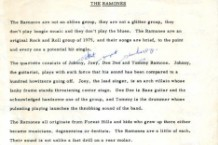 Ramones Press Bio 1975 Tommy Ramone Death