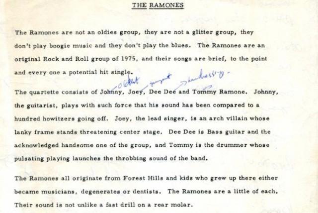 Ramones Press Bio 1975 Tommy Ramone Death
