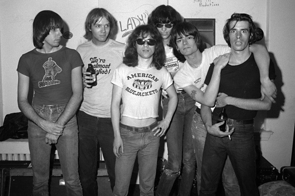 Johnny Ramone, John Holmstrom (Punk Magazine editor), Tommy, Joey, Dee Dee, and Legs McNeil on July 22, 1976.