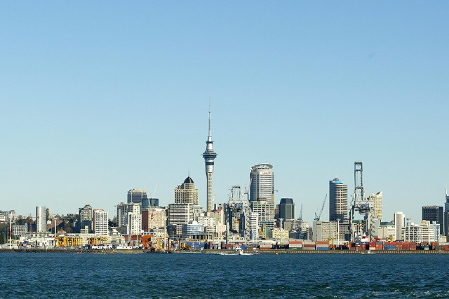 A View from the Auckland Harbour looking back onto