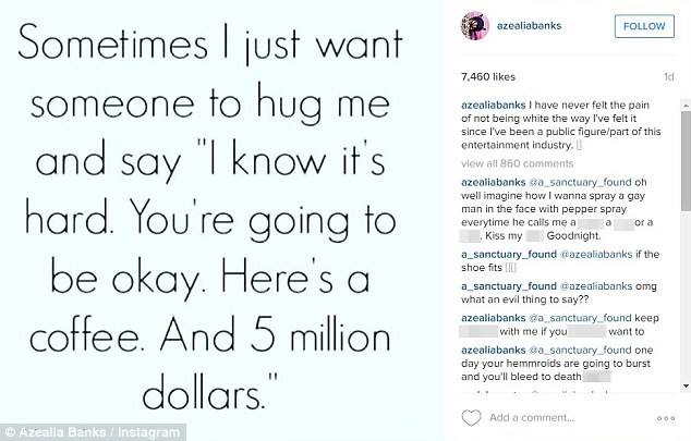 Azealia Banks Instagram Comment Threat