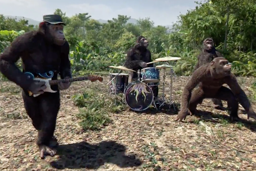coldplay are a buncha apes in animated new adventure of a