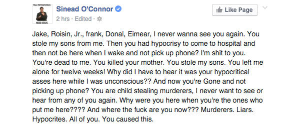 a possible suicide note has been posted to sinead o'connor's