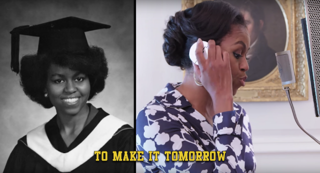 Watch michelle obama lay down sick bars about college in her new music