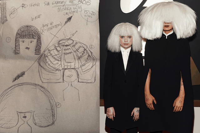 Sia Grammy Wig Sketch