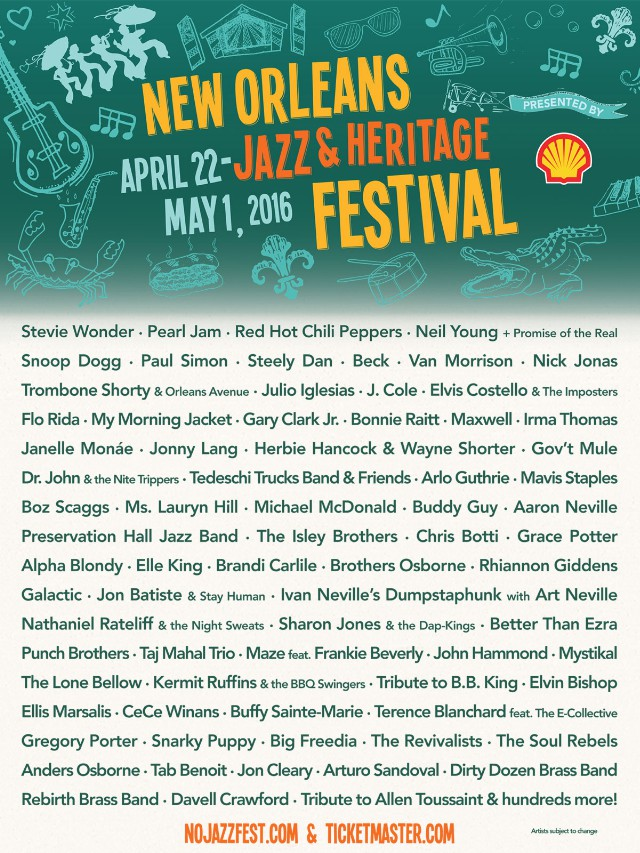 new orleans jazz fest 2016 lineup pearl jam beck my morning jacket and more spin. Black Bedroom Furniture Sets. Home Design Ideas