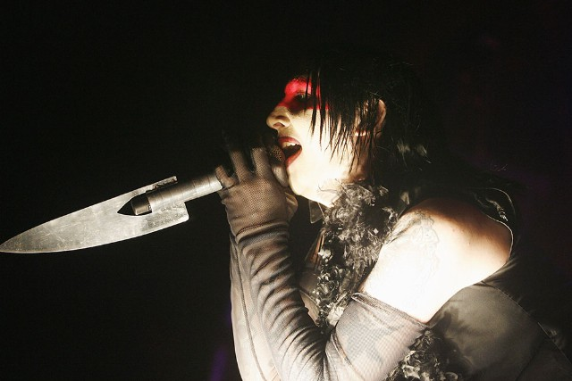 Marilyn Manson performs at Wembley Arena in London,England.