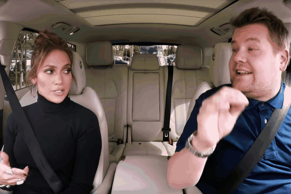 Jennifer lopez sings the hits and talks all things booty for Car pool karaoke show