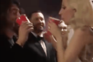 Watch Lady Gaga and Dave Grohl Link Arms and Chug Beer Backstage at the Oscars
