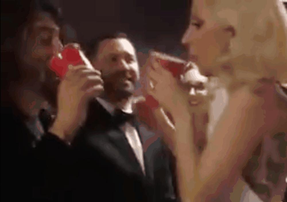 lady-gaga-dave-grohl-chug-beer-video-oscars-academy-awards
