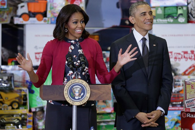 President Obama And First Lady Participate In Toys For Tots Event At Joint Base Anacostia-Boiling