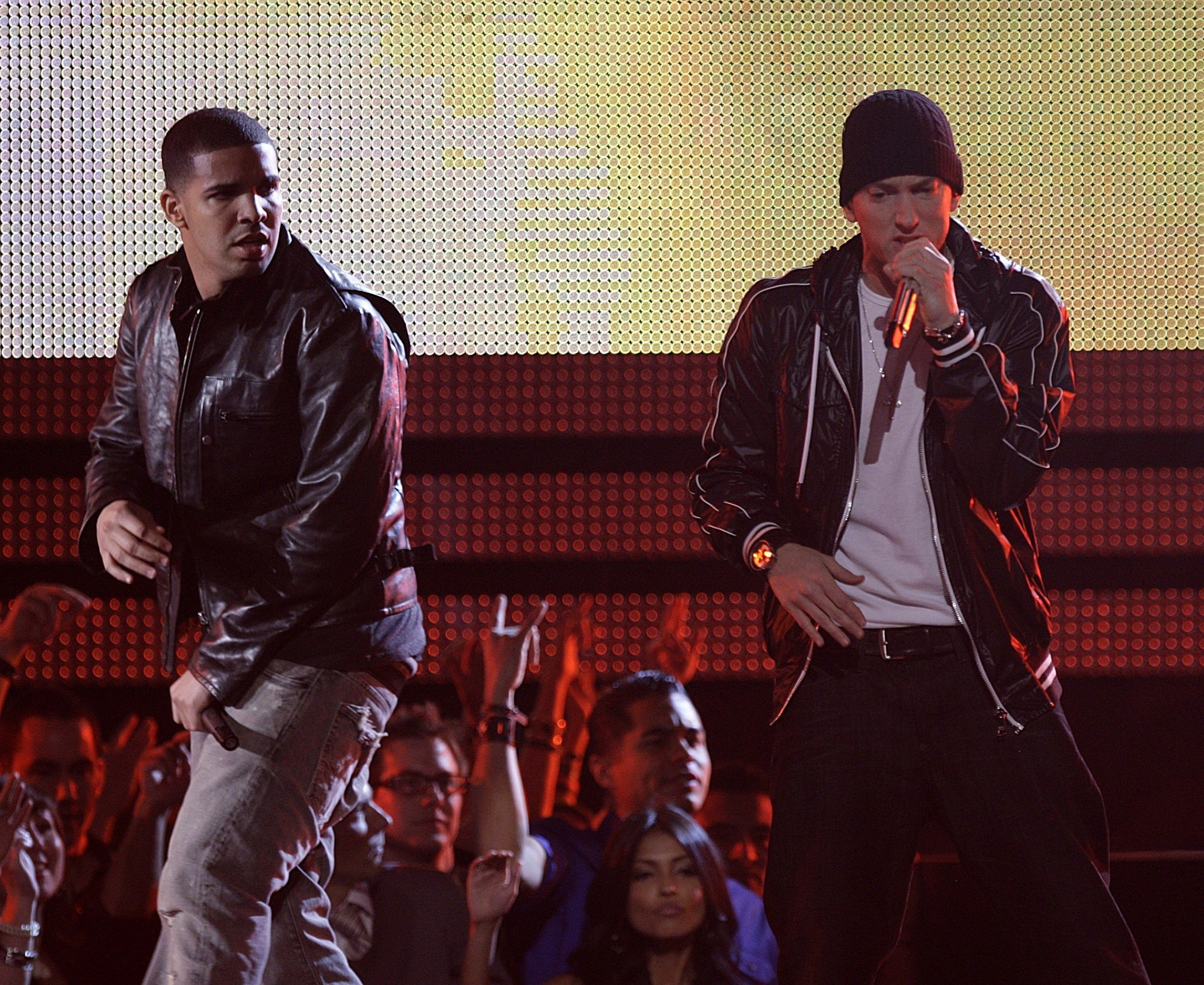 Drake and Eminem at The 52nd Annual Grammy Awards