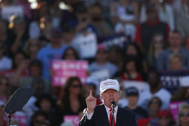 GOP Presidential Nominee Donald Trump Holds Campaign Rally At Collier County Fairgrounds In Naples, Florida
