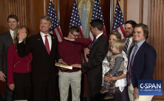 Roger Marshall's son dabs during mock swearing-in, confuses Paul Ryan