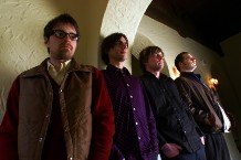 The rock band Weezer. from left to right are –– Rivers Cuomo, Brian Bell, Mikey Welsh and Pat Wilson