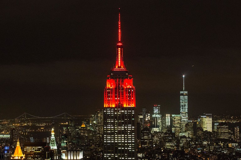Empire State Building Lights Turn Red In Honor Of World AIDS Day