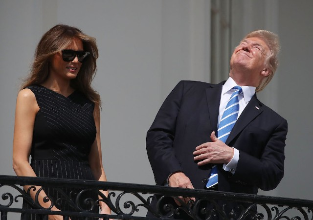 President Trump Views The Eclipse From The White House