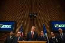 Mayor De Blasio And NYPD Commissioner Bratton