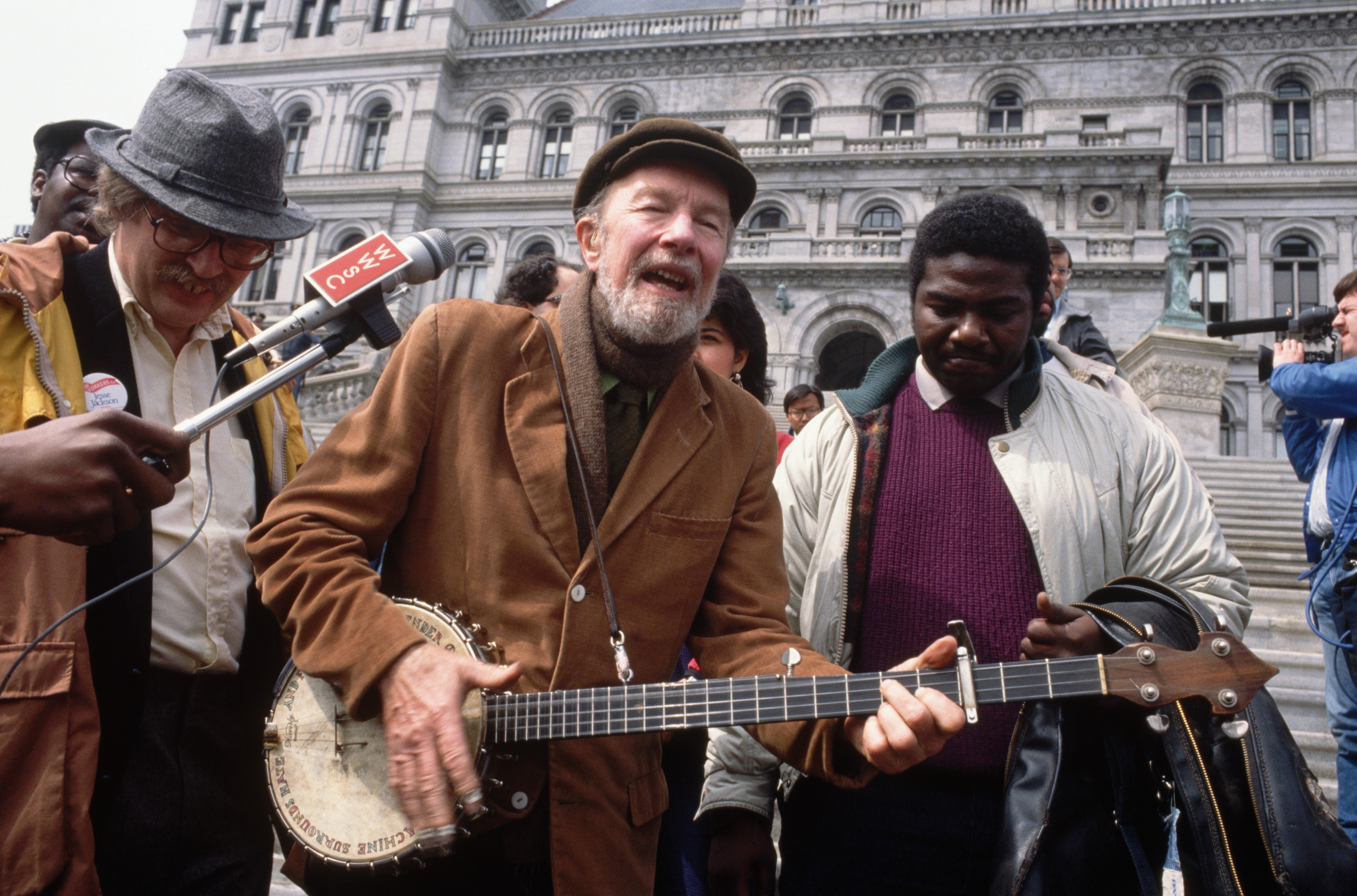 Pete Seeger Performing During Demonstration