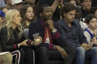Watch Meek Mill Do a Front Flip Off a Trampoline at a 76ers Game
