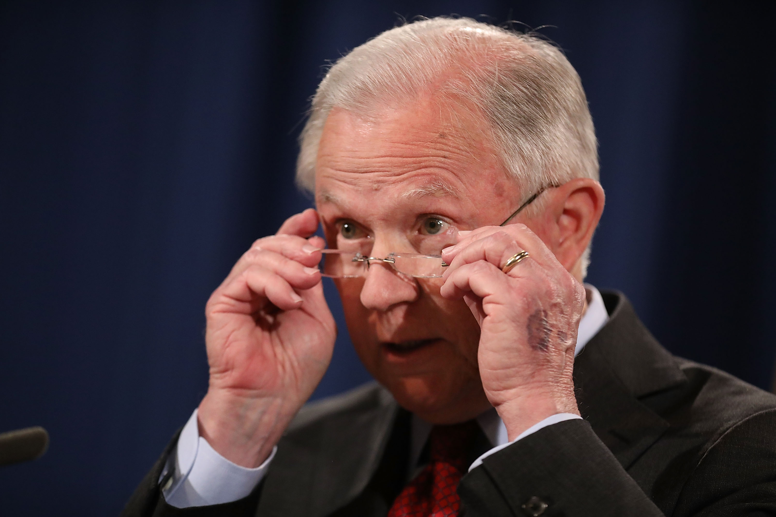 Attorney General Jeff Sessions Holds News Conference Discussing Efforts To Reduce Violent Crime