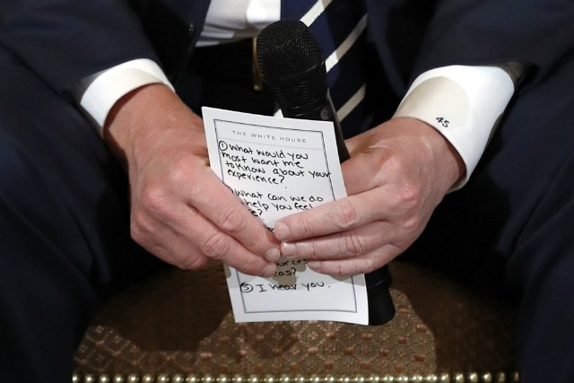 Trump's Notes Visible During School Shooting Listening Session