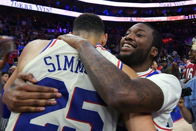 Meek Mill Welcomed at 76ers Game After Release From Prison  6daa3bb8d