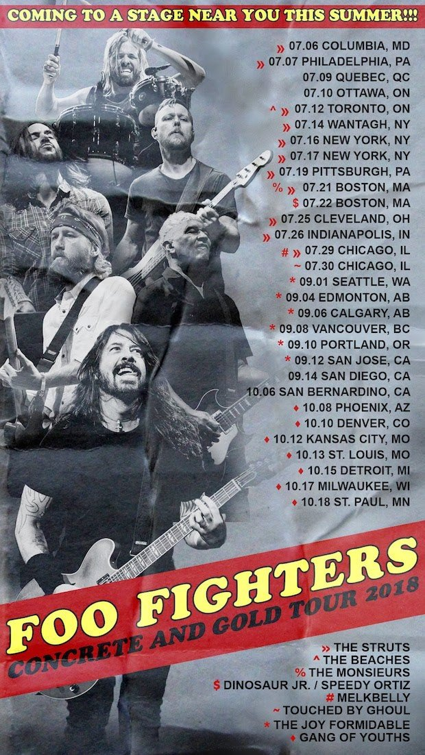 foo fighters tour openers