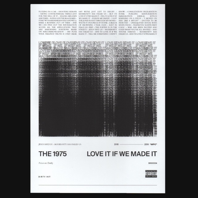 The 1975 Have Released A New Single Called Love It If We Made Lyrics Which Were Teased In Packet Sent Out To Fans And Press