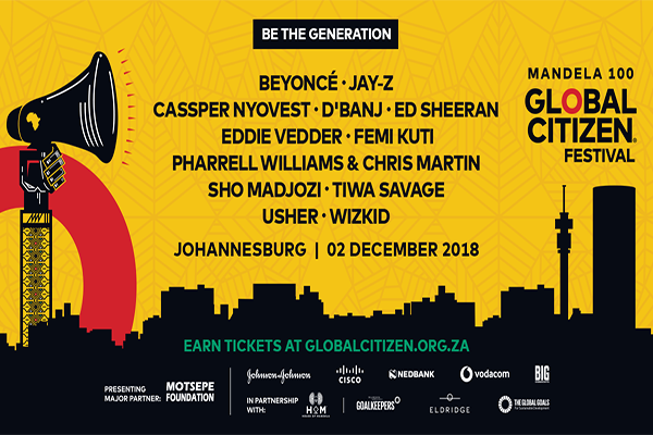 global citizen festival lineup mandela 100 2018 beyonce jay z ed sheeran