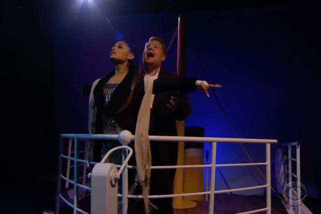 ariana grande james corden titanic movie musical remake video watch