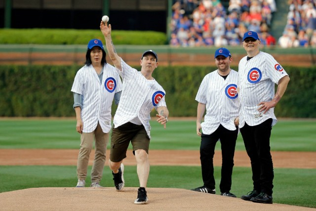 Smashing Pumpkins Throw First Pitch at Chicago Cubs Game