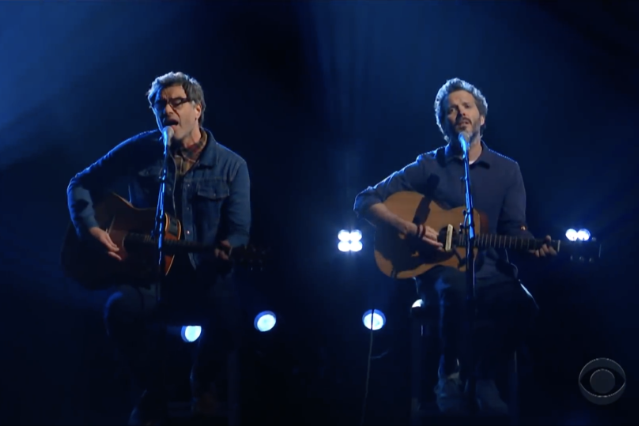 flight of the concords perform late show with stephen colbert father and son video interview