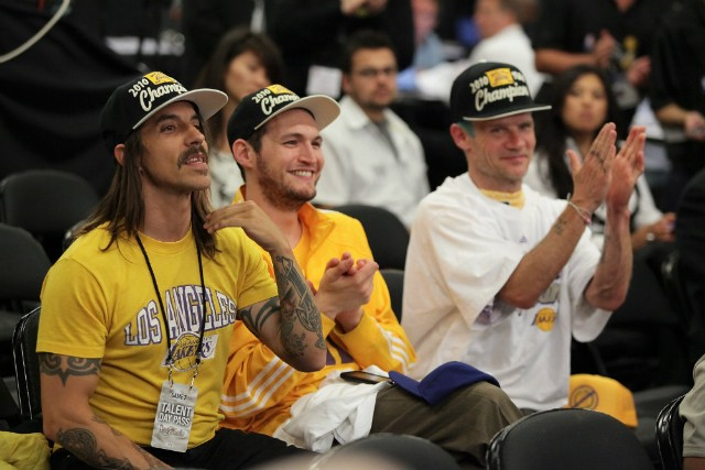 Anthony Kiedis, Flea, Josh Klinghoffer at NBA Playoffs 2010