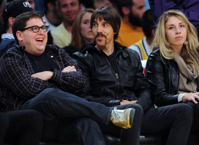 Anthony Kiedis and Jonah Hill at Lakers Game 2009