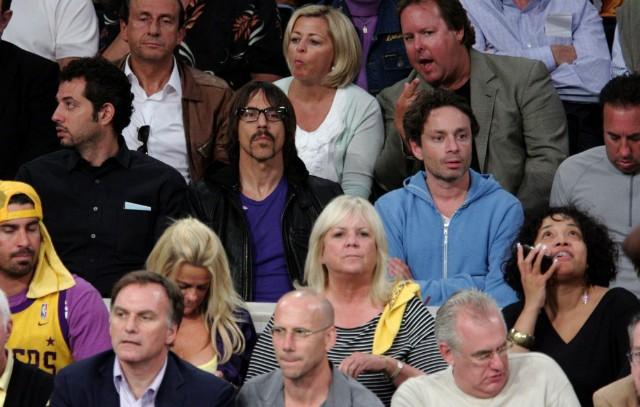 Anthony Kiedis and Chris Kattan at Lakers Game 2009