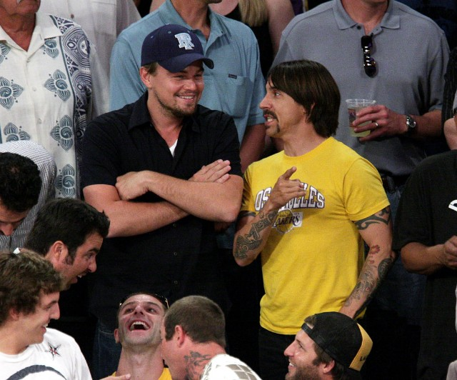 Anthony Kiedis and Leonardo DiCaprio at Lakers Game 2009