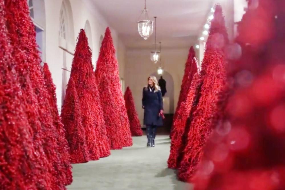 melania trump unveils creepy white house 2018 christmas decorations