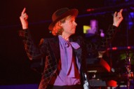 "Beck Performs ""Where It's At"" With Father John Misty and Este Haim at Wildfires Benefit Concert"
